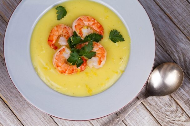 Крем-суп из маленьких креветок