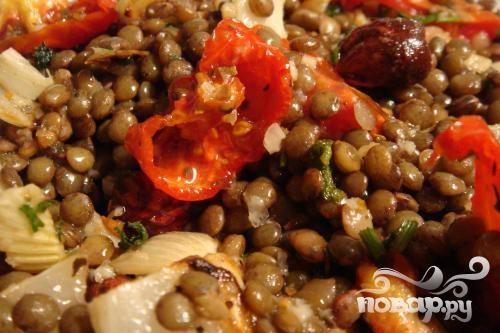 Жаркое из чечевицы, помидоров и картофеля