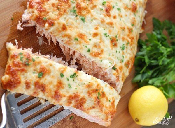 Запеченная семга с сыром