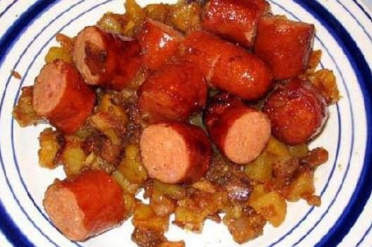 Жареная колбаса с картофелем
