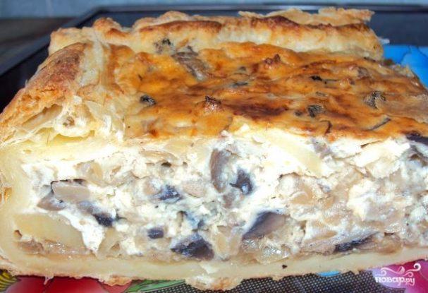 Пирог с грибами заливной