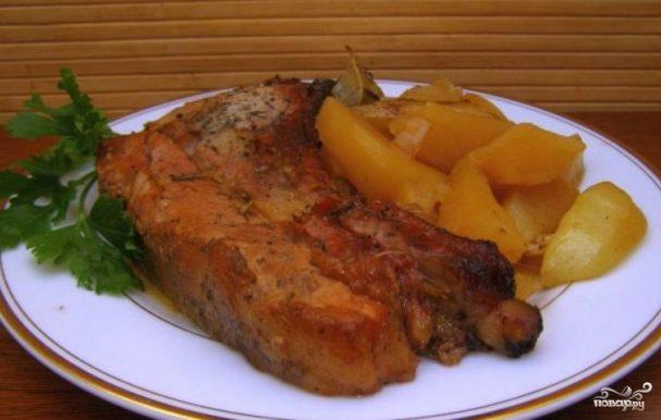 рецепт свинина кусочками с картофелем в духовке