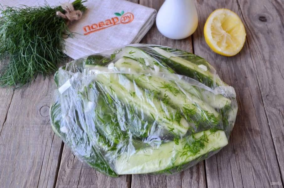 Завяжите плотно пакет, потрясите его, чтобы огурчики равномерно пропитались солью, лимонным соком, чесноком и зеленью. Оставьте в тепле на 1,5-2 часа. Я просто положила на стол, сейчас же лето.
