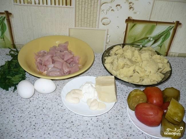 Запеканка из картофельного пюре с курицей - пошаговый рецепт