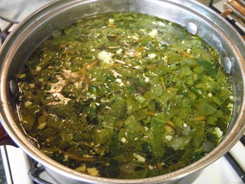 Добавьте большое количество зелени и яйцо. Откорректируйте щи на соль. Проварите суп одну минуту — и выключите огонь. Готовый суп подавайте горячим со сметаной. Приятного аппетита!