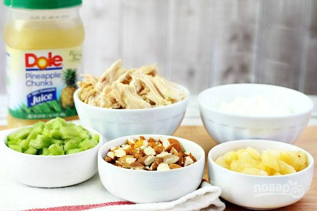 Салат с ананасом и курицей - пошаговый рецепт с фото на