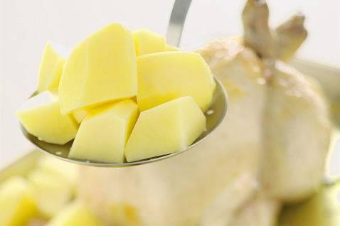 3. Пусть пока курица полежит помаринуется, а мы займемся картофелем. Почистите картошку, разрежьте на половинки или четвертинки (если картошка - большая), выложите в кастрюлю, залейте водой и посолите. Доведите до кипения и сразу слейте воду. Картошку выложите к курице.