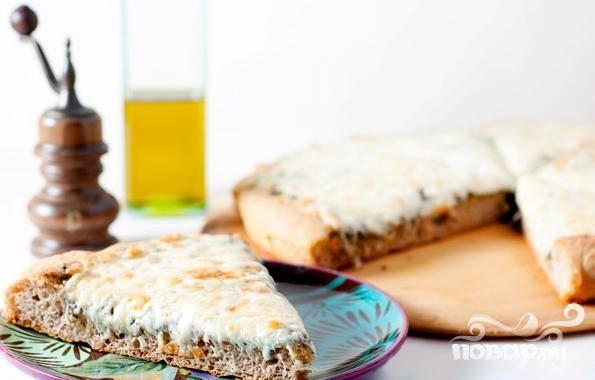 Пицца - Три сыра - с соусом Песто - пошаговый рецепт с фото на