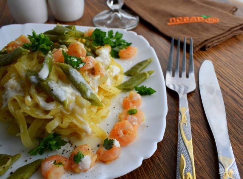 Паста - Альфредо - со стручковой фасолью - пошаговый рецепт с фото на