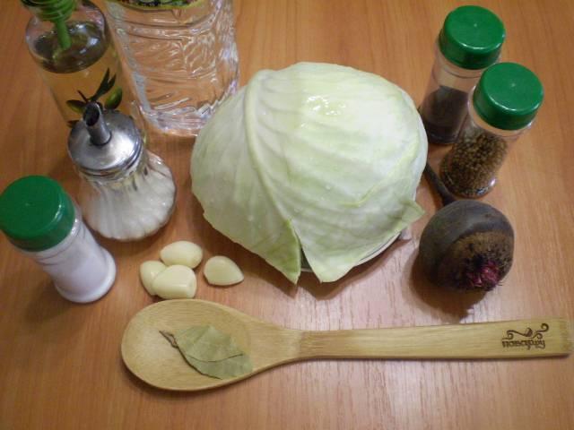 Капуста, маринованная кусочками со свеклой - пошаговый рецепт