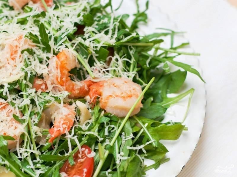 Салат с креветками и авокадо руккола рецепт с