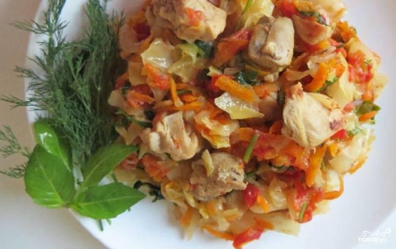 Тушеная капуста с томатом рецепт пошагово