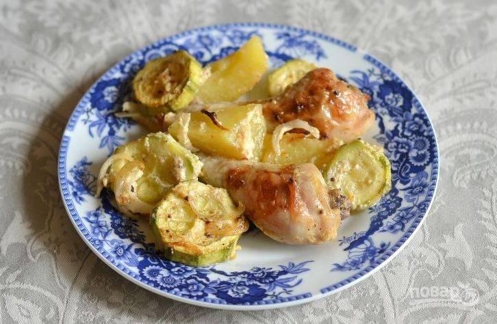 Кабачки с курицей и овощами в духовке рецепт с фото пошаговый