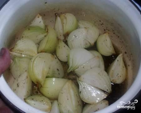 Затем лук укладываем в глубокую посуду, добавляем растительного масла, немного приправ.