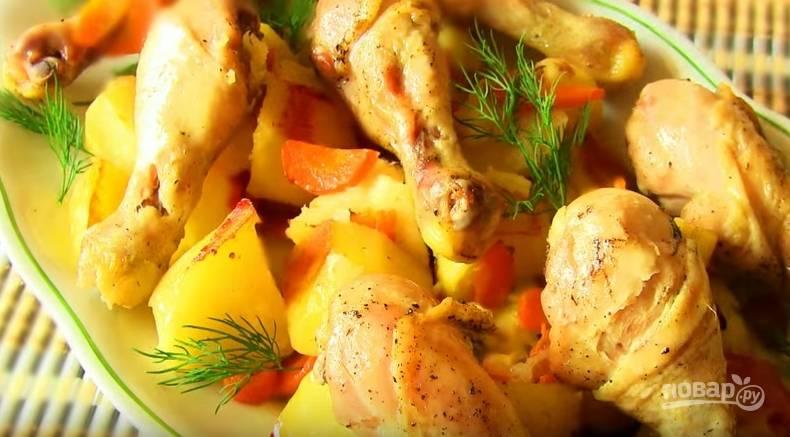 Картофель с курицей в рукаве в духовке - пошаговый рецепт