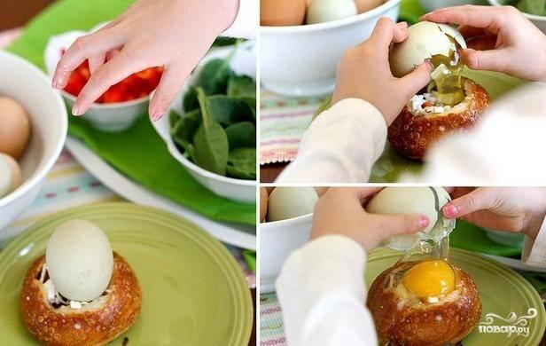 Яичница в хлебном горшочке - пошаговый рецепт