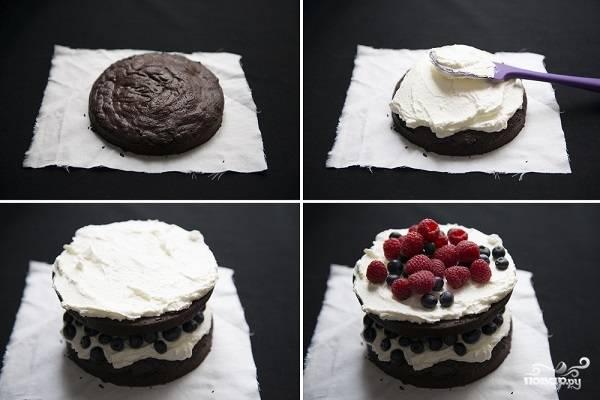 Шоколадный торт с черникой - пошаговый рецепт