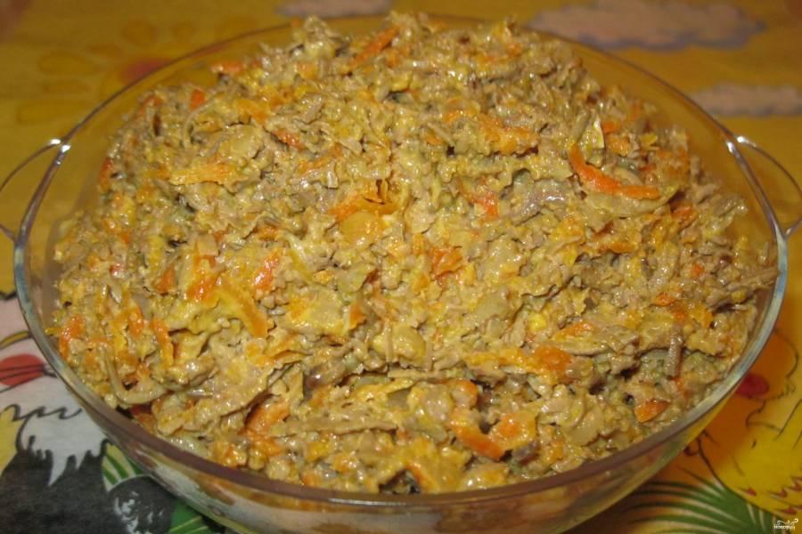 Печень с морковью и луком
