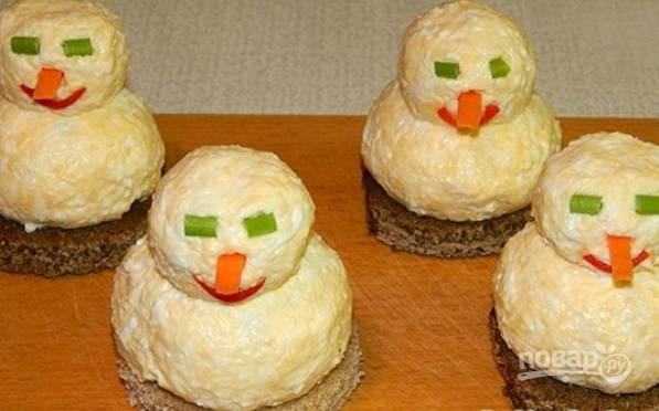 Закуска - Снеговики - к новогоднему столу - пошаговый рецепт с фото на