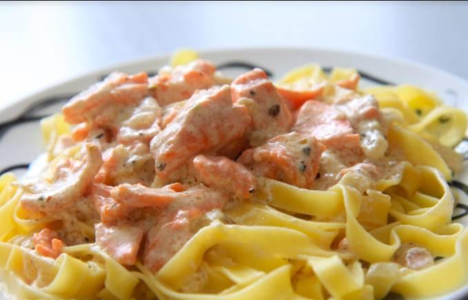 Паста с форелью в сливочном соусе - пошаговый рецепт с фото на