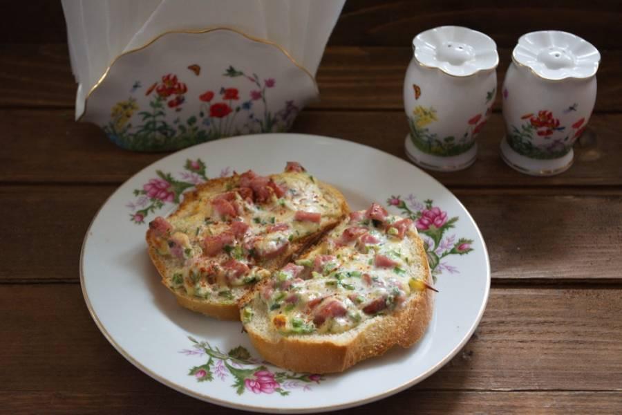 Гренки с ветчиной и сыром - пошаговый рецепт