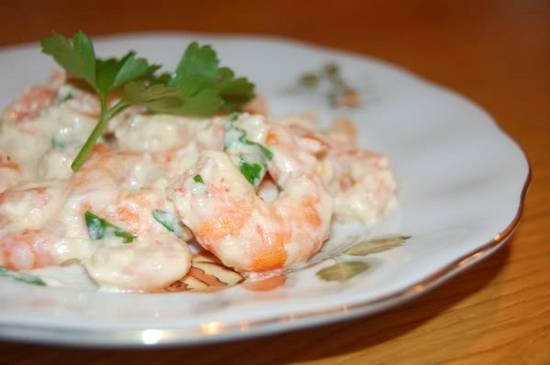 Креветки под сливочным соусом - пошаговый рецепт