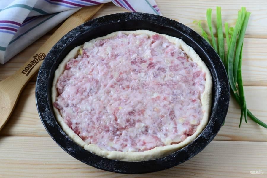 Выложите мясную начинку толстым слоем. Начинки должно быть минимум 1,5 см.