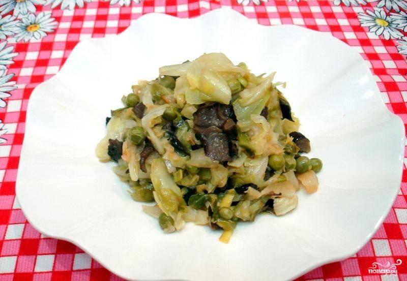 капуста с грибами жареная