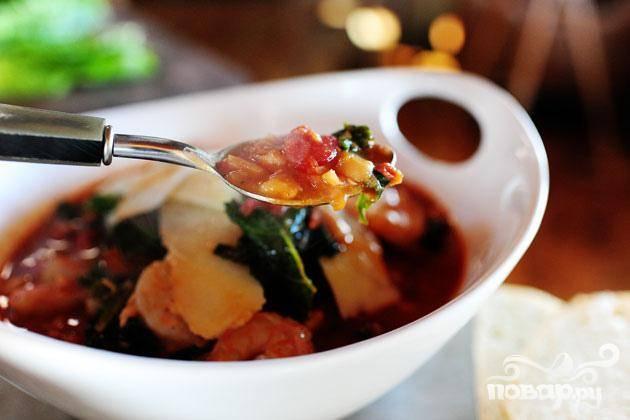 Тосканский фасолевый суп с креветками