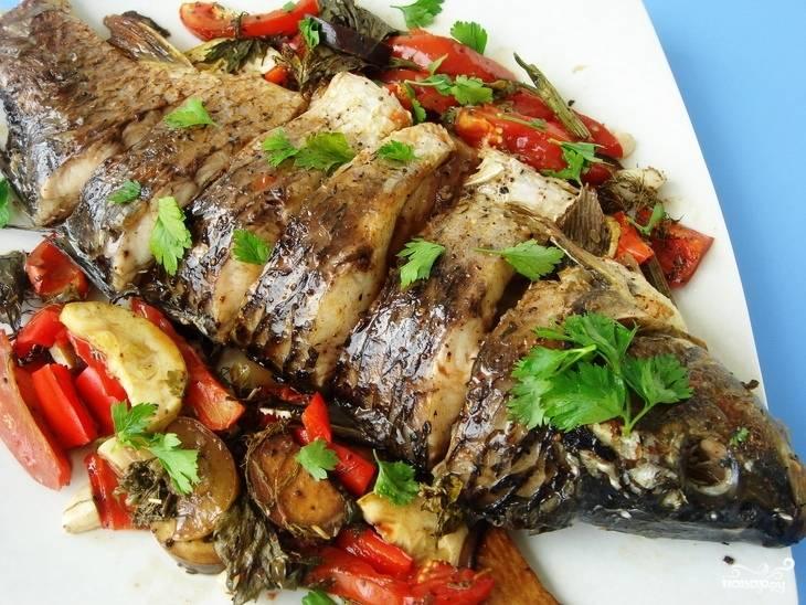 Рецепт рыба в духовке с овощами