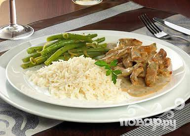 Телятина с рисом и фасолью