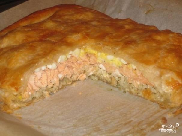Пирог с семгой и рисом - пошаговый рецепт