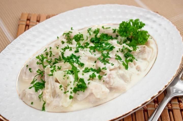 Камбала, тушеная в сметане - пошаговый рецепт с фото на