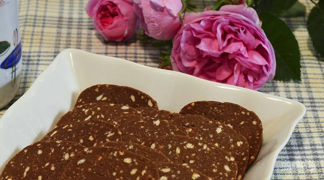 Сладкая колбаска из печенья и какао рецепт с пошагово в