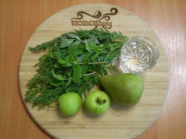 Зеленый коктейль с яблоком - пошаговый рецепт