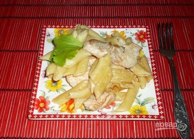 Макароны с курицей в сырном соусе - пошаговый рецепт