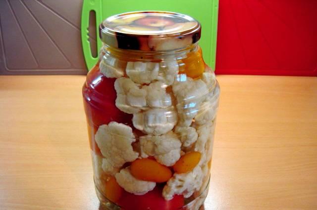 Маринованная цветная капуста на зиму в банках - пошаговый рецепт с фото на