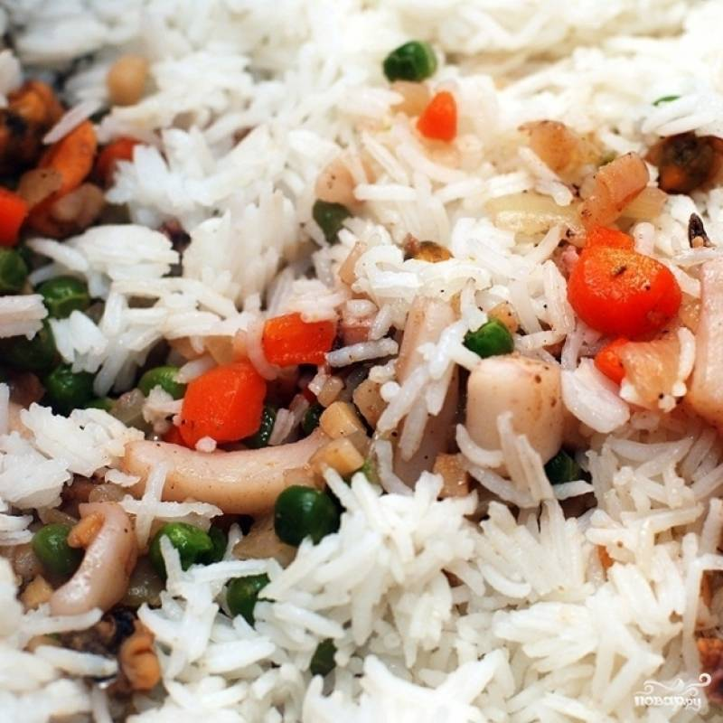 Басмати с овощами и морепродуктами - пошаговый рецепт