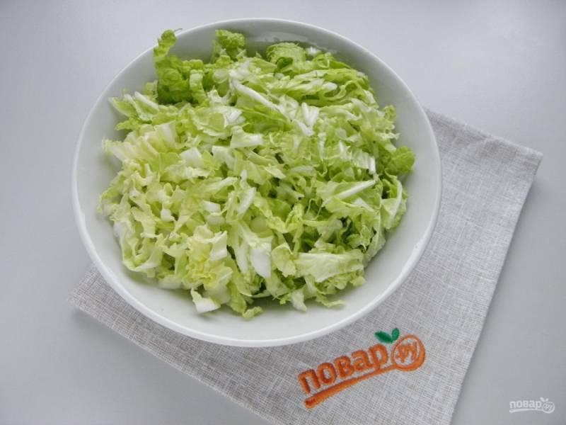 Нашинкуйте капусту мелко. Посолите немного.