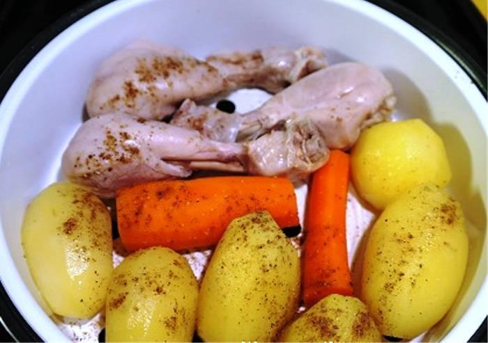 Рецепт курицы с овощами на пару в мультиварке рецепты