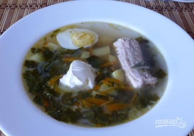 Зеленый борщ с яйцом и щавелем - пошаговый рецепт