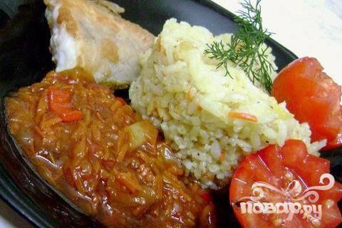Рыба с овощами и рисом