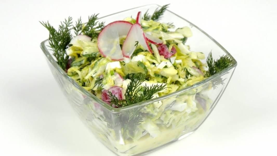 Простой и легкий салат без майонеза