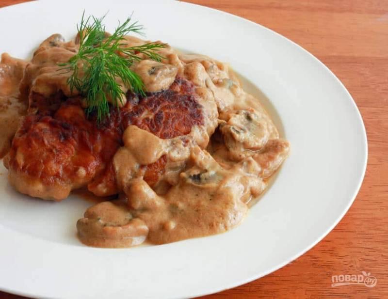 Свиная отбивная с грибами в соусе - пошаговый рецепт с фото на