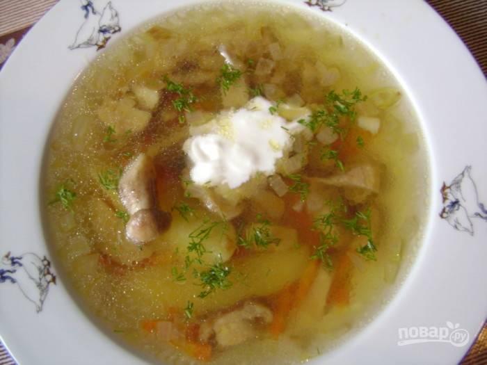 Грибной суп из белых замороженных грибов