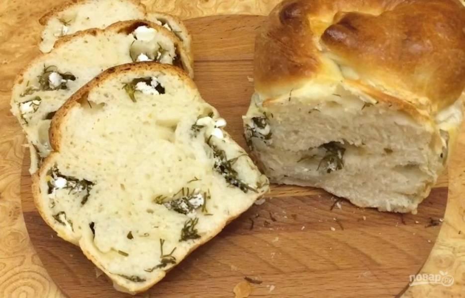Воздушный хлеб с брынзой и зеленью - пошаговый рецепт с фото на