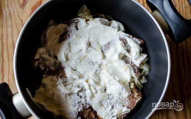 Печень говяжья в сметане - пошаговый рецепт с фото на