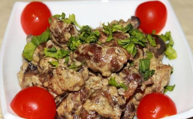 Куриные сердечки в сливках - пошаговый рецепт