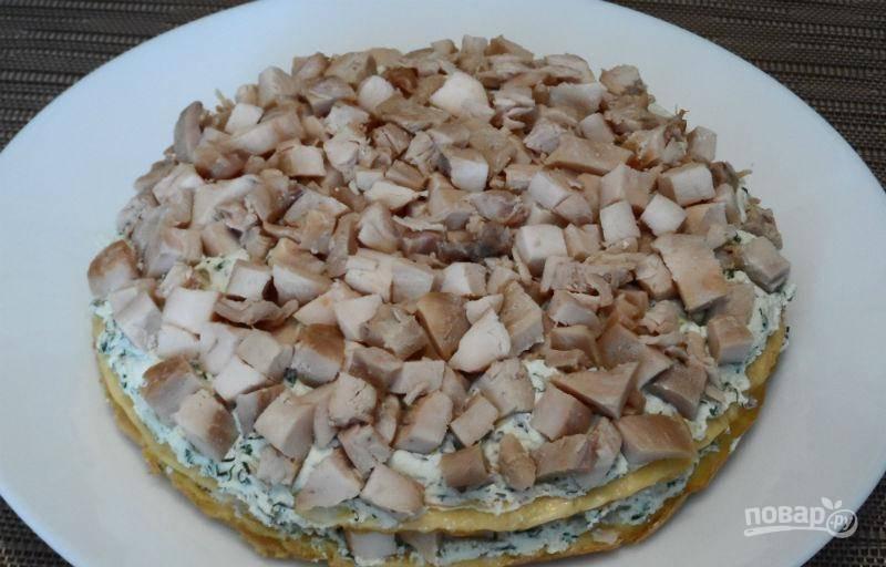Белковый торт с куриной грудкой - пошаговый рецепт