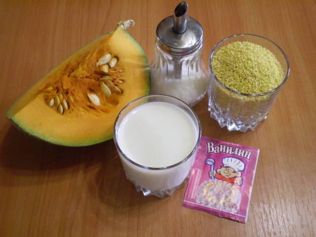 Подготовьте необходимые продукты. Чтобы получить более жидкую кашу, увеличьте количество молока.